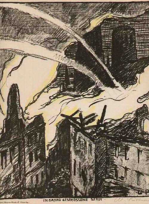 Walter Püttner - In BRAND GESCHOSSENE STADT signierte OriginalLithographie d.SEZESSIONisten der DAMENAKADEMIE MÜNCHEN kopen? Bied vanaf 75!