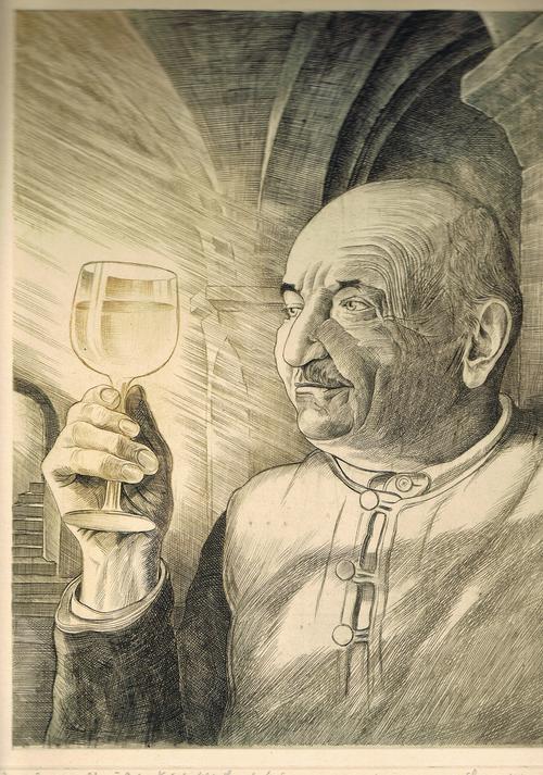 Hermann SCHIEBEL - In vino veritas, Kupferstich-Handabzug, um 1947 kopen? Bied vanaf 95!