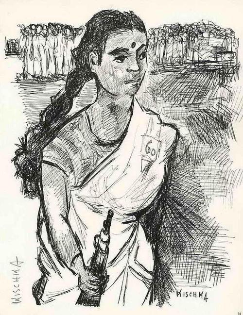 Isis Kischka - INDISCHE FRAU in WAFFEN - Handsignierte Druckgraphik auf ARCHES-Bütten des ROMAINVILLE-Überlebenden kopen? Bied vanaf 35!