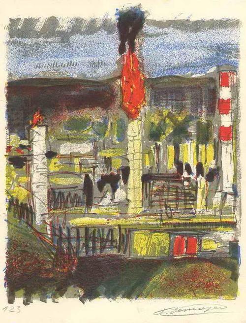 Francois Desnoyer - INDUSTRIEANLAGE 1962 - Hansignierte Original Farblithographie des LÉGER & DUFY Kollegen kopen? Bied vanaf 45!