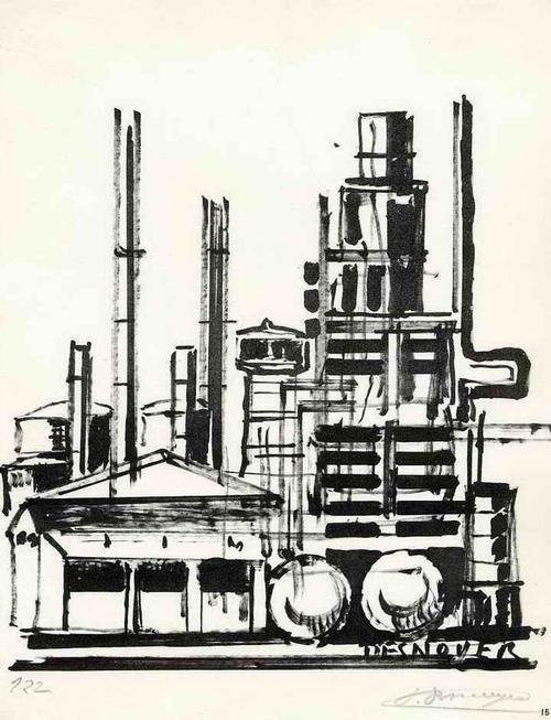 Francois Desnoyer - Industrieanlage - RAFFINERIE - 1962 - Handsignierte Druckgraphik auf ARCHES-Bütten kopen? Bied vanaf 35!