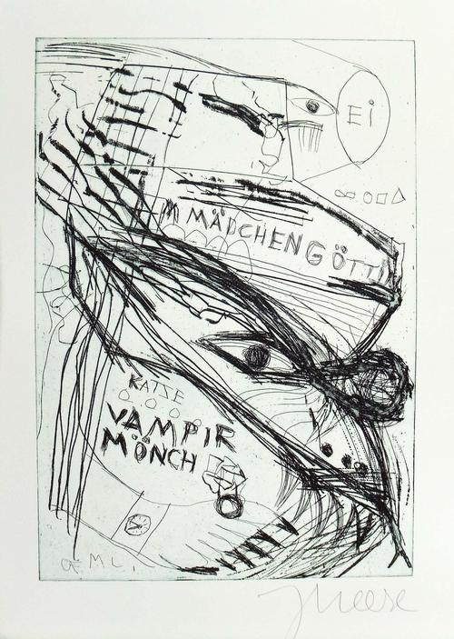 Jonathan Meese - JONATHAN MEESE starke handsignierte Original-Radierung RÄTSELHAFTES ECHSENWESEN !!! kopen? Bied vanaf 279!