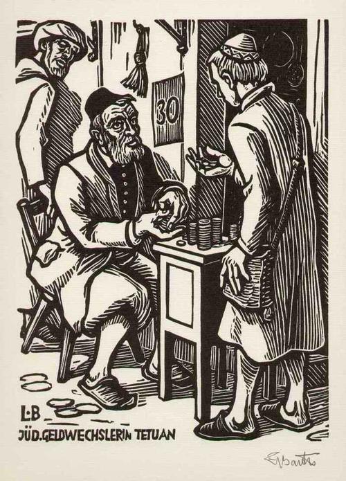 Ludwig Barth -Uchatzky - JÜDISCHER GELDWECHSLER in TETUAN - Handsignierter OriginalHolzschnitt des NS-Realisten 1979 kopen? Bied vanaf 95!