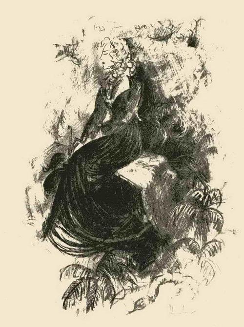 Fritz Heubner - JUNGE FRAU mit PARAPLUIE - Handsignierte Originallithographie d.SIMPLICISSIMUS/JUGEND-Illustratoren kopen? Bied vanaf 45!