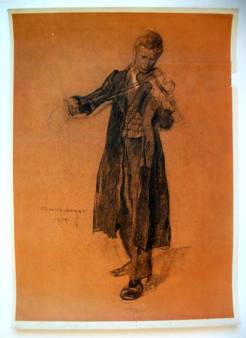 Christian Landenberger - Junger Mann mit Violine Lithografie, 1909 kopen? Bied vanaf 125!