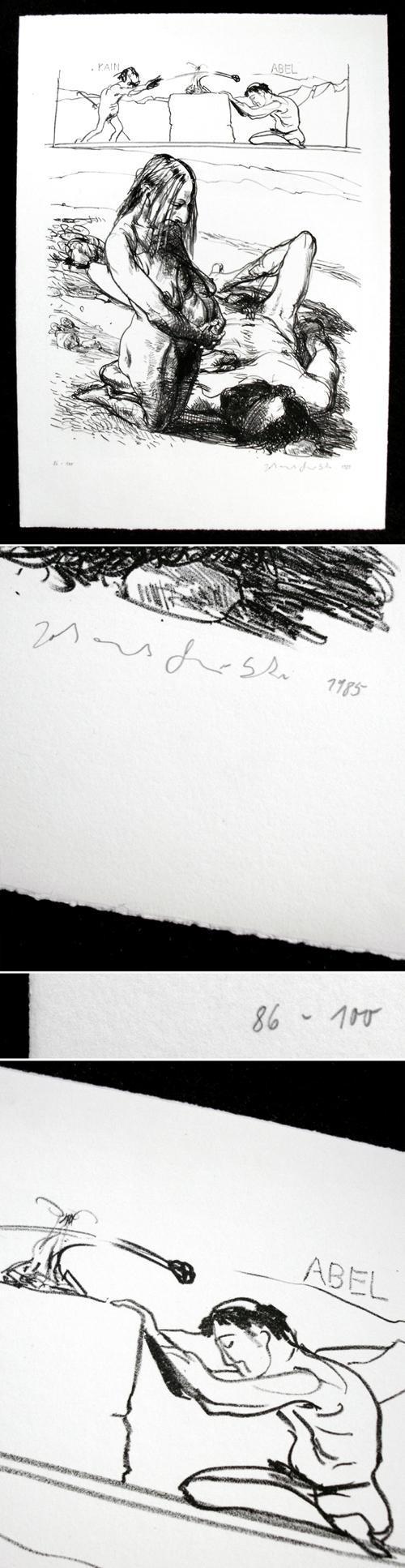 Johannes Grützke - Kain und Abel. Lithographie, 1985. kopen? Bied vanaf 230!