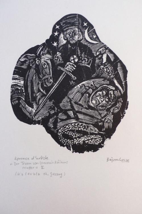 Archibald Bajorat - Kalevala 12.Gesang - Der Traum von Lemmin Kaeinens Mutter, Holzschnitt kopen? Bied vanaf 45!