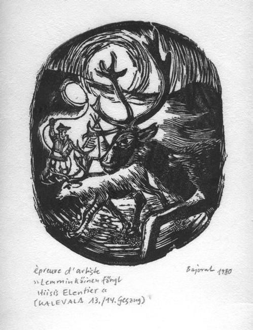 Archibald Bajorat - Kalevala 13./14.Gesang, Leminkäinen fängt Hiisis Elen - Holzschnitt 1980 kopen? Bied vanaf 45!