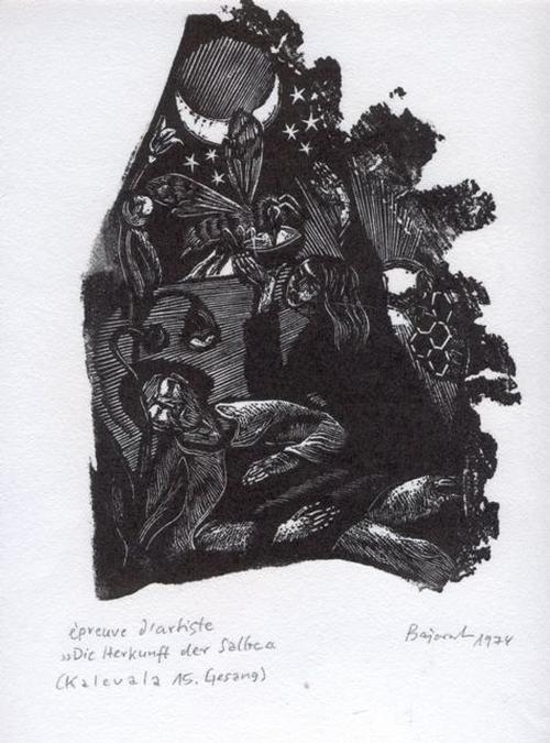 Archibald Bajorat - Kalevala 15. Gesang, Die Herkunft der Salbe, Holzschnitt 1974 kopen? Bied vanaf 45!