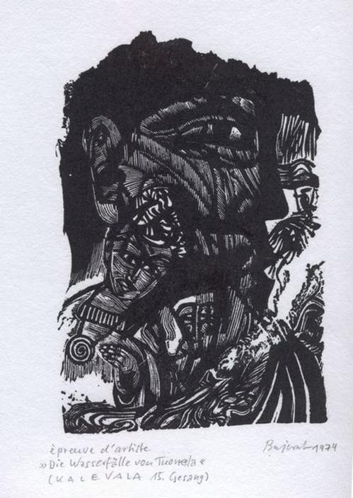 Archibald Bajorat - Kalevala 15.Gesang, Die Wasserfälle von Tuonela, Holzschnitt 1974 kopen? Bied vanaf 45!