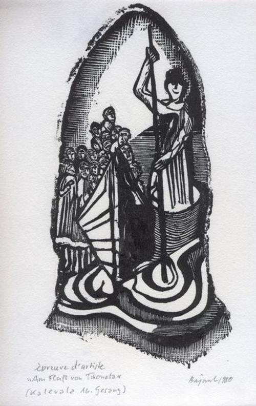 Archibald Bajorat - Kalevala 16.Gesang, Am Fluss von Tuonela, Holzschnitt, 1980 kopen? Bied vanaf 45!