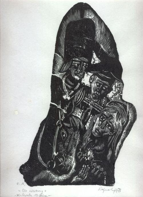 Archibald Bajorat - Kalevala 19.Gesang, Die Werbung, Holzschnitt, 1973 kopen? Bied vanaf 45!
