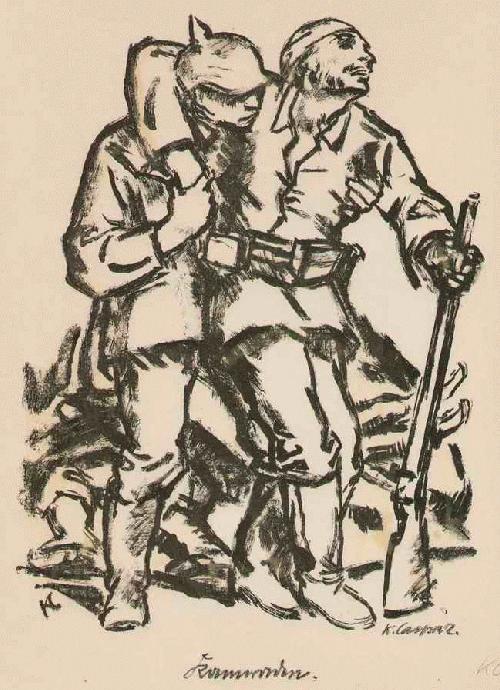 Karl Caspar - KAMARADEN - Handsignierte handkolorierte OriginalLithographie 1914 (MÜNCHNER SEZESSION) - ENTARTET - kopen? Bied vanaf 75!