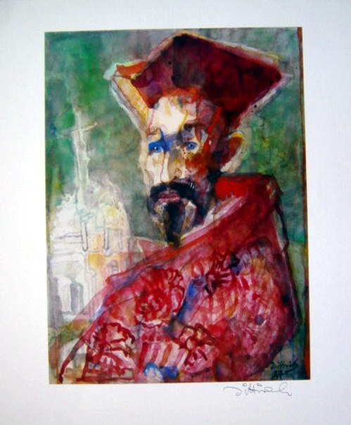 Simon Dittrich - KARDINAL, Offsetdruck, 1987, Bild 40 x 29 cm, Blatt 59 x 42 cm, signiert kopen? Bied vanaf 29!