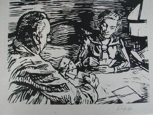 Karl Friedrich Gotsch - Karl Friedrich Gotsch Meine Eltern beim Kartenspiel Signierter Holzschnitt kopen? Bied vanaf 450!