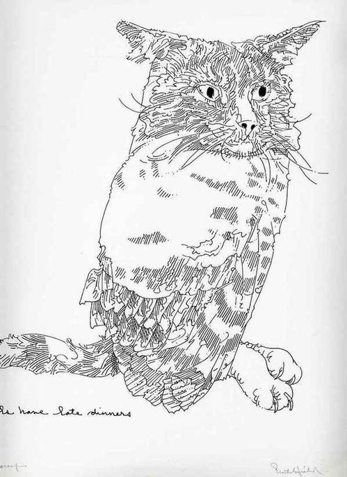 William Crutchfield - KATZEN-EULE - CATOWL - Handsigned Original Silkscreen 1970 - Artistproof (John Herron School of Art) kopen? Bied vanaf 36!
