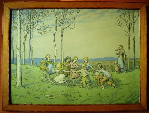 Hans Richard Volkmann von - Kinderreigen, Farblithographie von 1904 kopen? Bied vanaf 140!