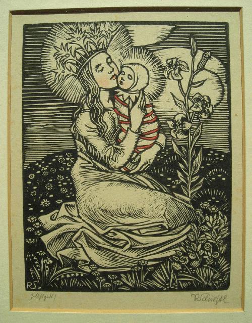 Rudolf Schiestl - Kleine Madonna, Farbholzschnitt, handsigniert, vom Künstler persönlich gedruckt kopen? Bied vanaf 120!