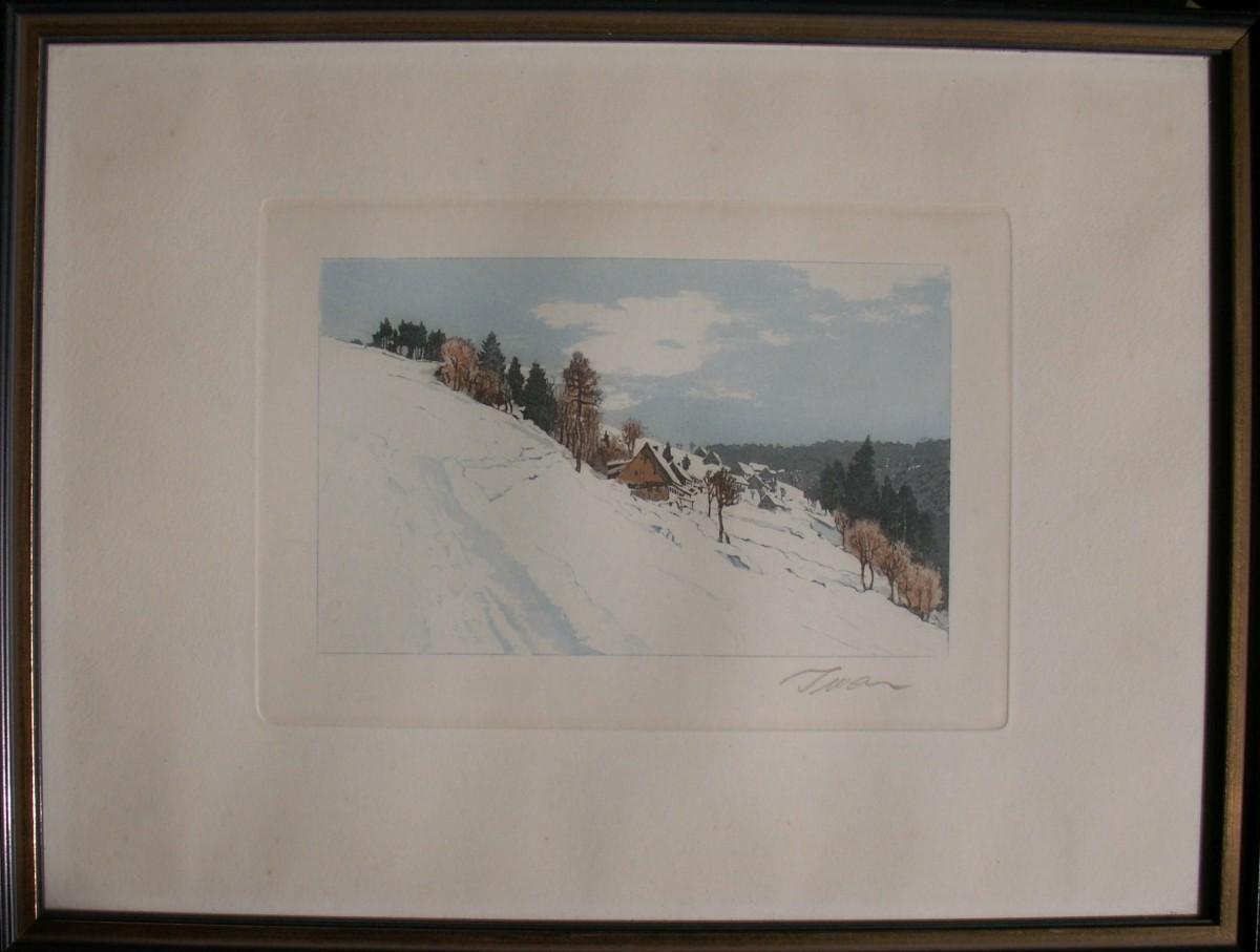 Friedrich Iwan - Kleine Ortschaft im winterlichen Riesengebirge, Farbradierung, Handsigniert kopen? Bied vanaf 130!