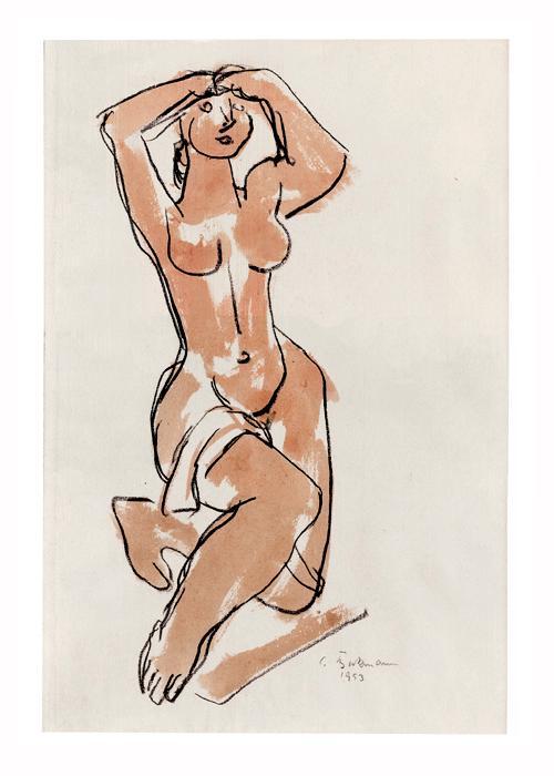 Curt Beckmann - Kniender weiblicher Akt. Zeichnung, 1953. kopen? Bied vanaf 500!