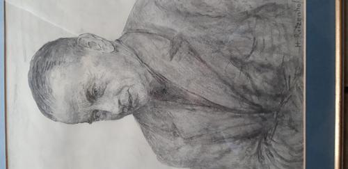 Hubert Ritzenhofen - Kohlezeichnung. Porträt von Carl Heinz Stricker. kopen? Bied vanaf 100!