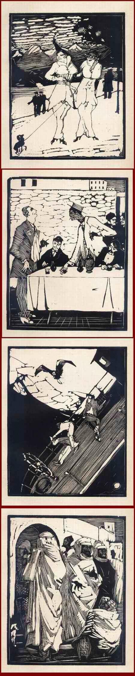 Arminius Hasemann - KOKOTTEN - GENUA - STURM - ARABER i.MELILLA - 4 OriginalHolzschnitte d.abenteuerlichen Wanderers1915 kopen? Bied vanaf 65!
