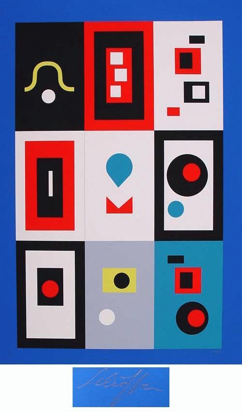 Nicolas Schöffer - - Komposition I (blauer Rand) -, großformatige Farbserigrafie, handsigniert, numeriert kopen? Bied vanaf 290!
