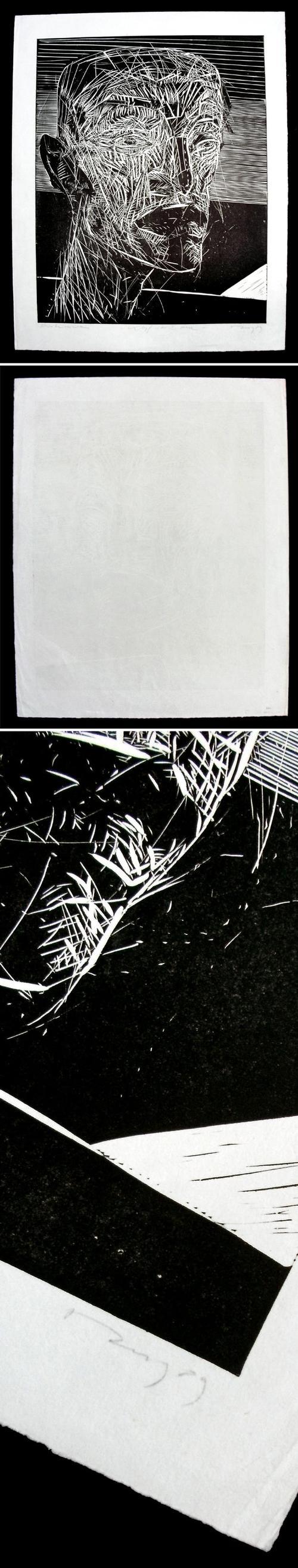 Thomas Rug - Kopf in der Ebene. Linolschnitt, 1989. kopen? Bied vanaf 220!