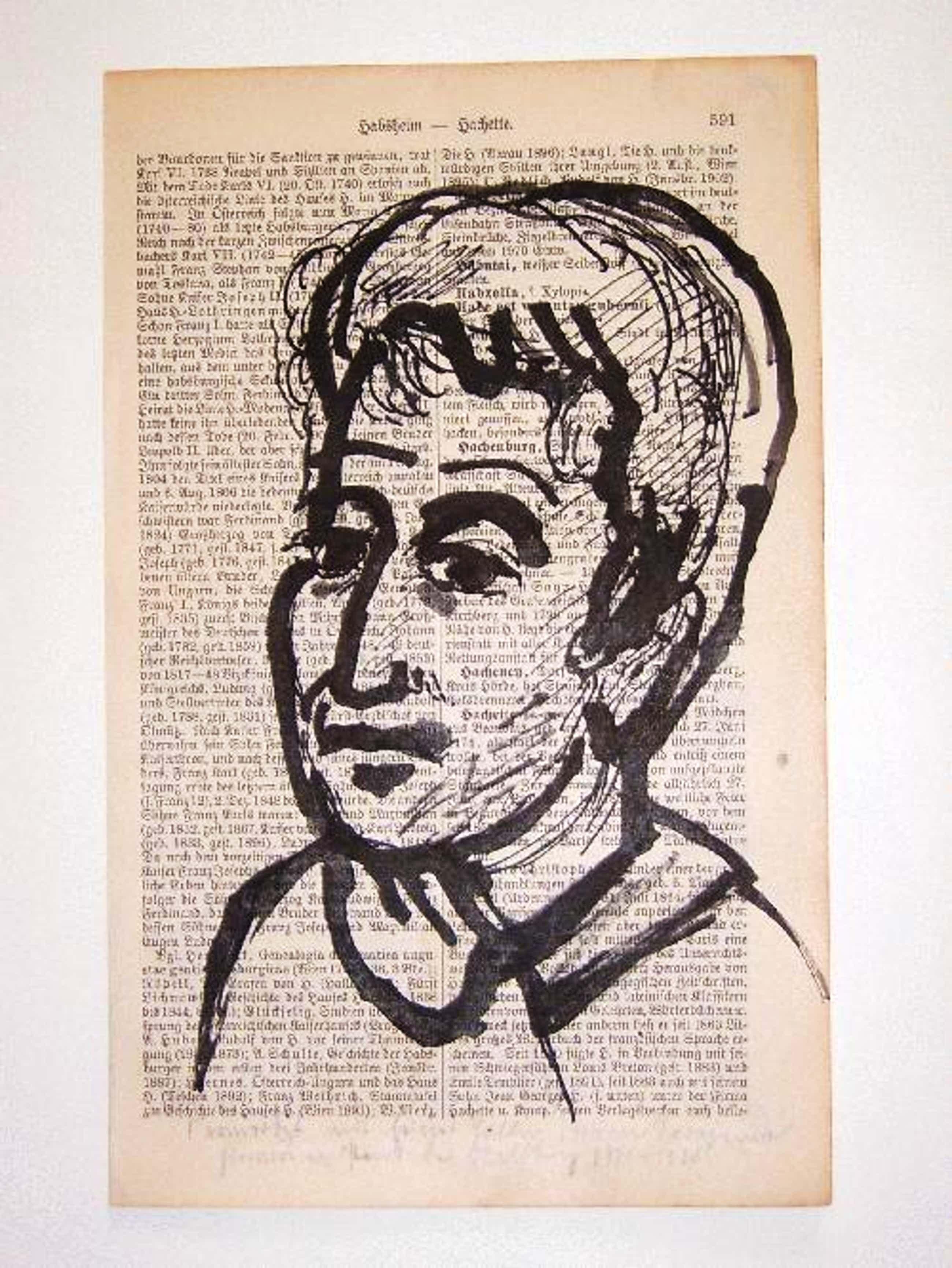 A.R. Penck - - Kopf I - Original-Tuschezeichnung auf Lexikonseite, 1961 kopen? Bied vanaf 490!