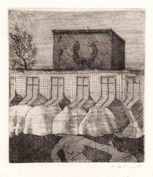 Peter Ackermann - KOPFLOS aus FENSTERSTRÖMEN - Handsignierte OriginalRadierung des PHANTASTISCHEN REALISTEN 1971 (HDK) kopen? Bied vanaf 42!
