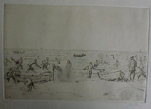 Erich Büttner - Krabbenfischer am Ostseestrand, Radierung 1914 kopen? Bied vanaf 60!