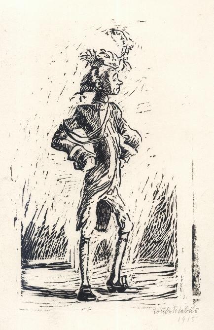 Trude Friebus - KURFÜRSTLICHER SOLDAT mit GESCHWOLLENER BRUST - handsignierter OrginalHolzschnitt 1915 kopen? Bied vanaf 75!