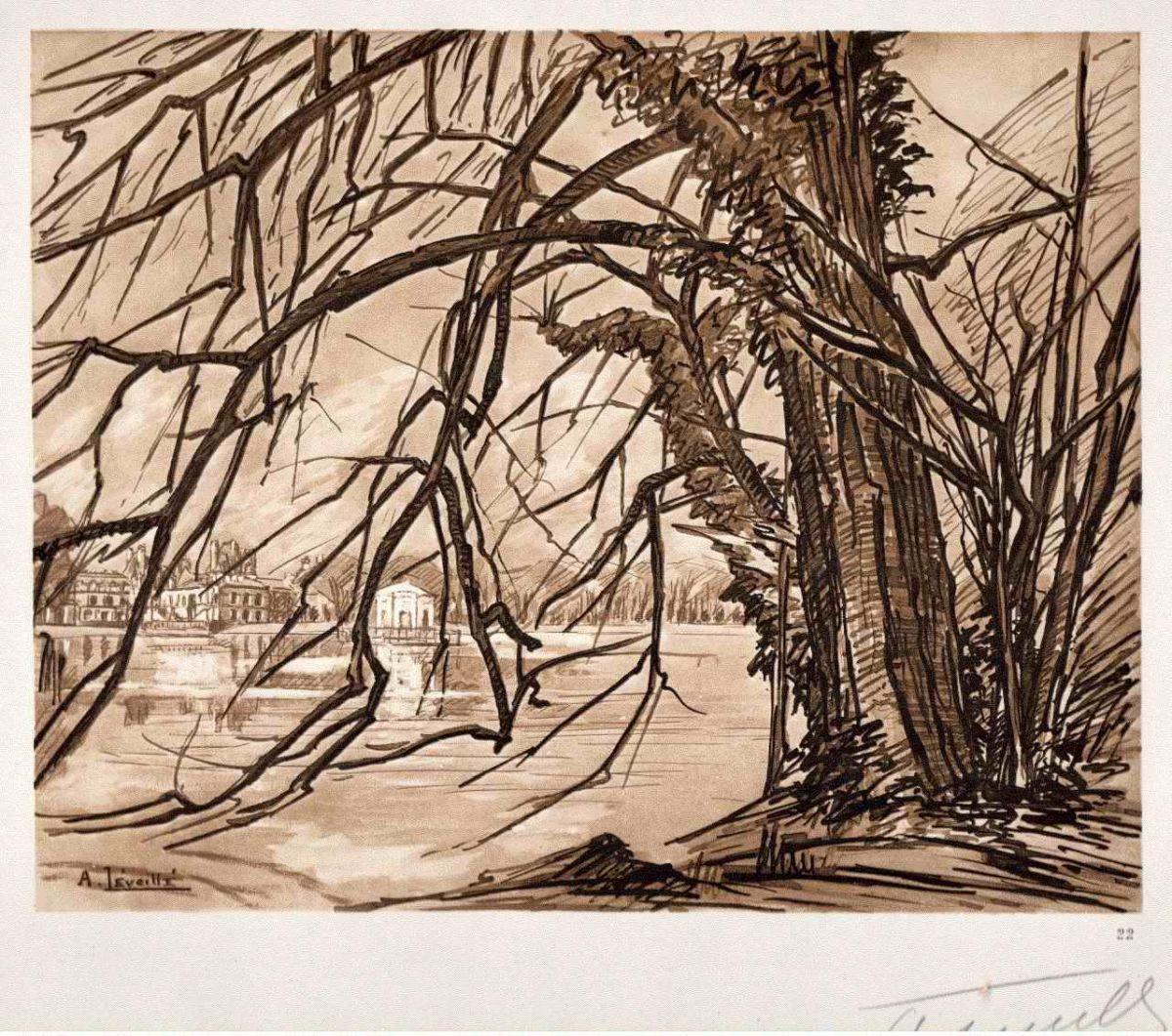 Andrèi Lèveillè - L´ÉTANG des CARPES 1925 FONTAINEBLEAU Handsignierte OriginalLithographie Der KARPFENTEICH kopen? Bied vanaf 65!
