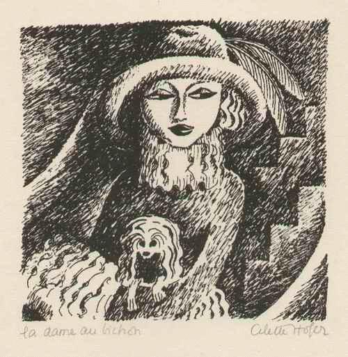 Cilette Ofaire - La DAME au BICHON - DAME mit SCHOßHÜNDCHEN - 1922 handsignierte Graphik d.großen ABENTEUERIN a.PARIS kopen? Bied vanaf 120!