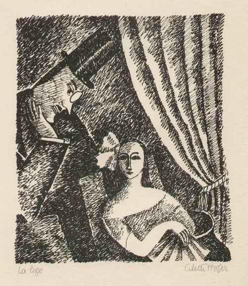 Cilette Hofer - La LOGE - 1922 handsignierte Graphik der großen ABENTEUERIN & AUTORIN aus PARIS - In der LOGE kopen? Bied vanaf 125!