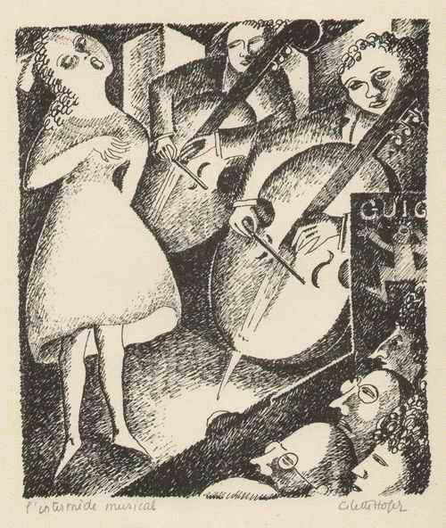 Cilette Ofaire - L´INTERMÈDE MUSICAL - MUSIKALISCHES ZWISCHENSPIEL 1922 signierte Graphik d.großen ABENTEUERIN kopen? Bied vanaf 125!