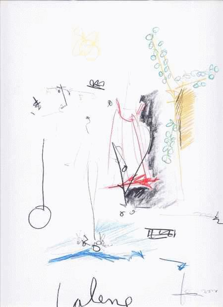 Andreas richert - LALENE FarbStiftZeichnung des GENIUS aus GIESSEN - handsigniert & tituliert & datiert 2000 kopen? Bied vanaf 75!