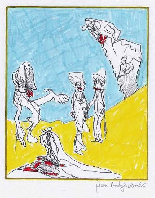 Jean Boskja Missler - LANDPARTY mit PICNIC - Handsignierte & colorierte OriginalBleistiftzeichnung des Künstlers a: KASSEL kopen? Bied vanaf 40!