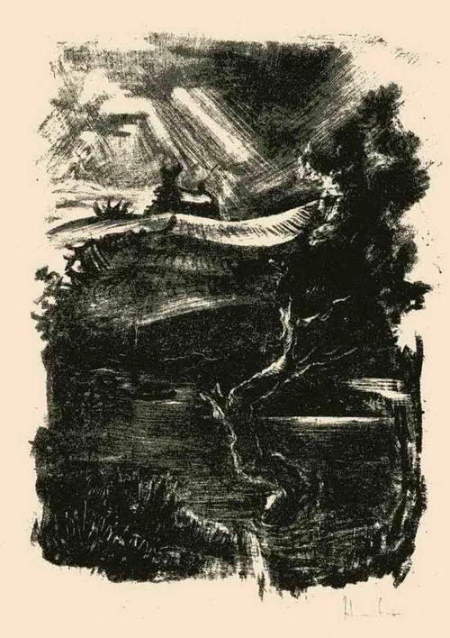 Fritz Heubner - LANDSCHAFT in der BRETAGNE - 1923 - Handsignierte Originallithographie (SIMPLICISSIMUS) kopen? Bied vanaf 45!