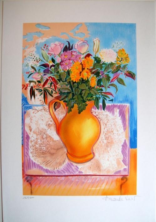 Amanda Lear - Le Bouquet - Originale handsignierte Lithografie kopen? Bied vanaf 140!