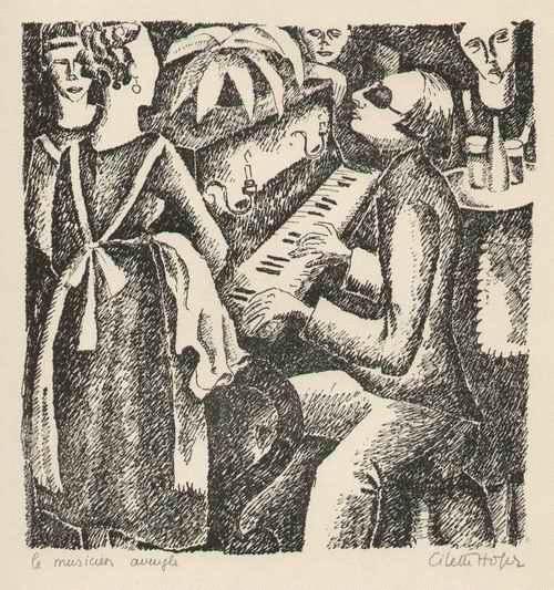 Cilette Hofer - Le MUSICIEN AVEUGLE - Der BLINDE MUSIKER - 1922 handsignierte Graphik der großen ABENTEUERIN a.PARIS kopen? Bied vanaf 120!