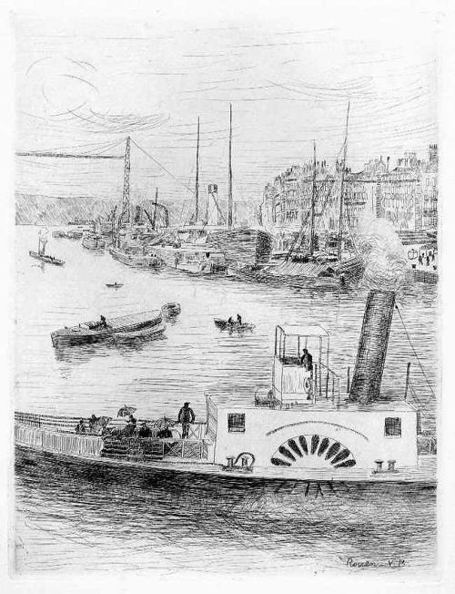 Valdo Louis Barbey - Le PORT de ROUEN -1949 OriginalRadierung des PARISer BEAUX-ART-Schülers - Der HAFEN von ROUEN kopen? Bied vanaf 32!