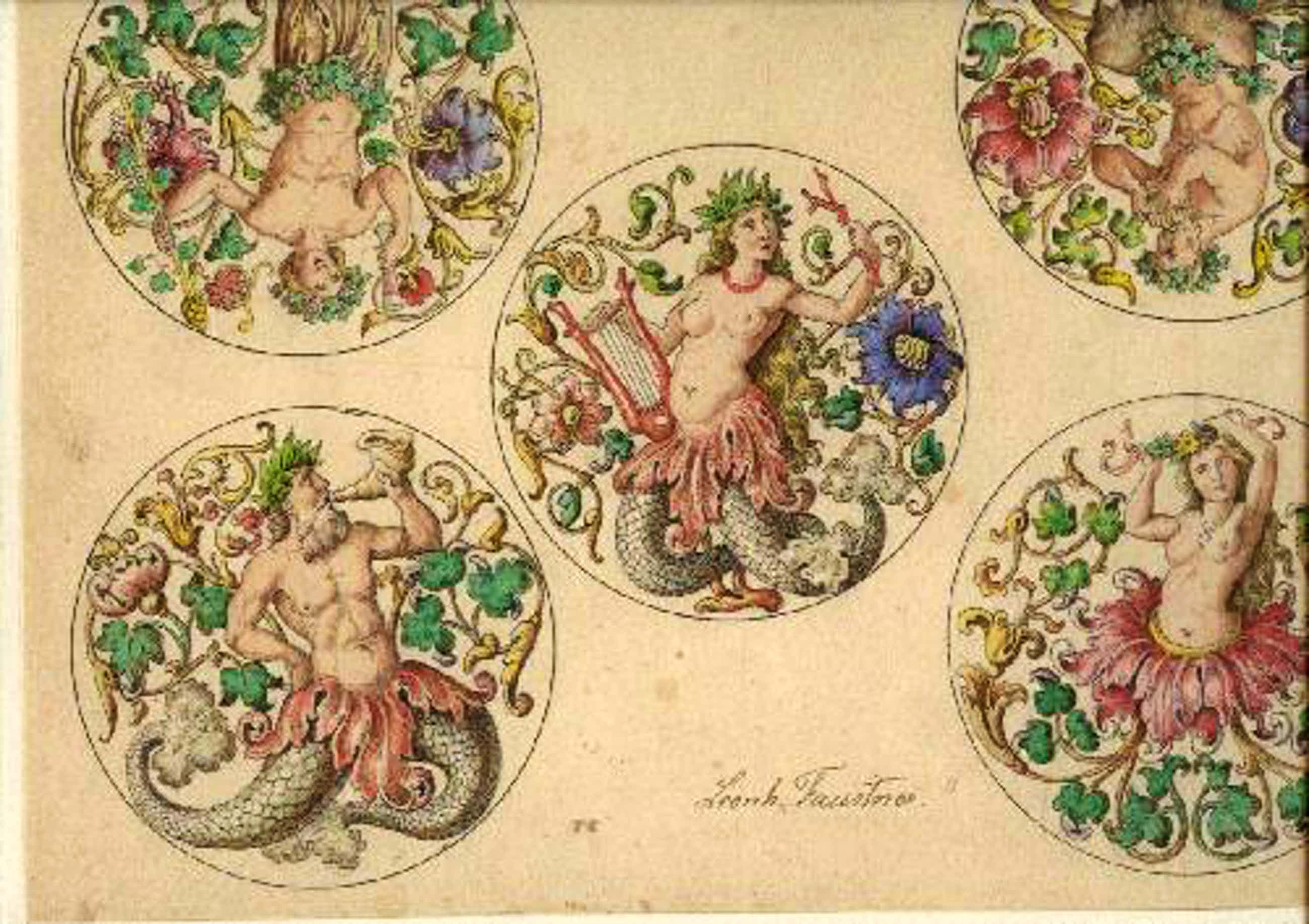 Leonhard Faustner - Leonhard Faustner Fünf Rundfelder mit Fabelwesen signierte Zeichnung /Aquarell kopen? Bied vanaf 900!