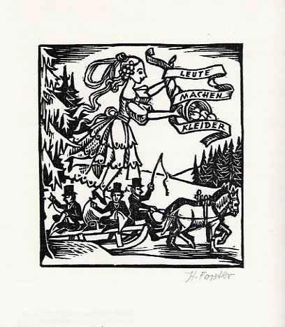 Hanna Forster - LEUTE MACHEN KLEIDER handsignierter OriginalLinolschnitt zu Gottfried KELLER 1985 kopen? Bied vanaf 28!