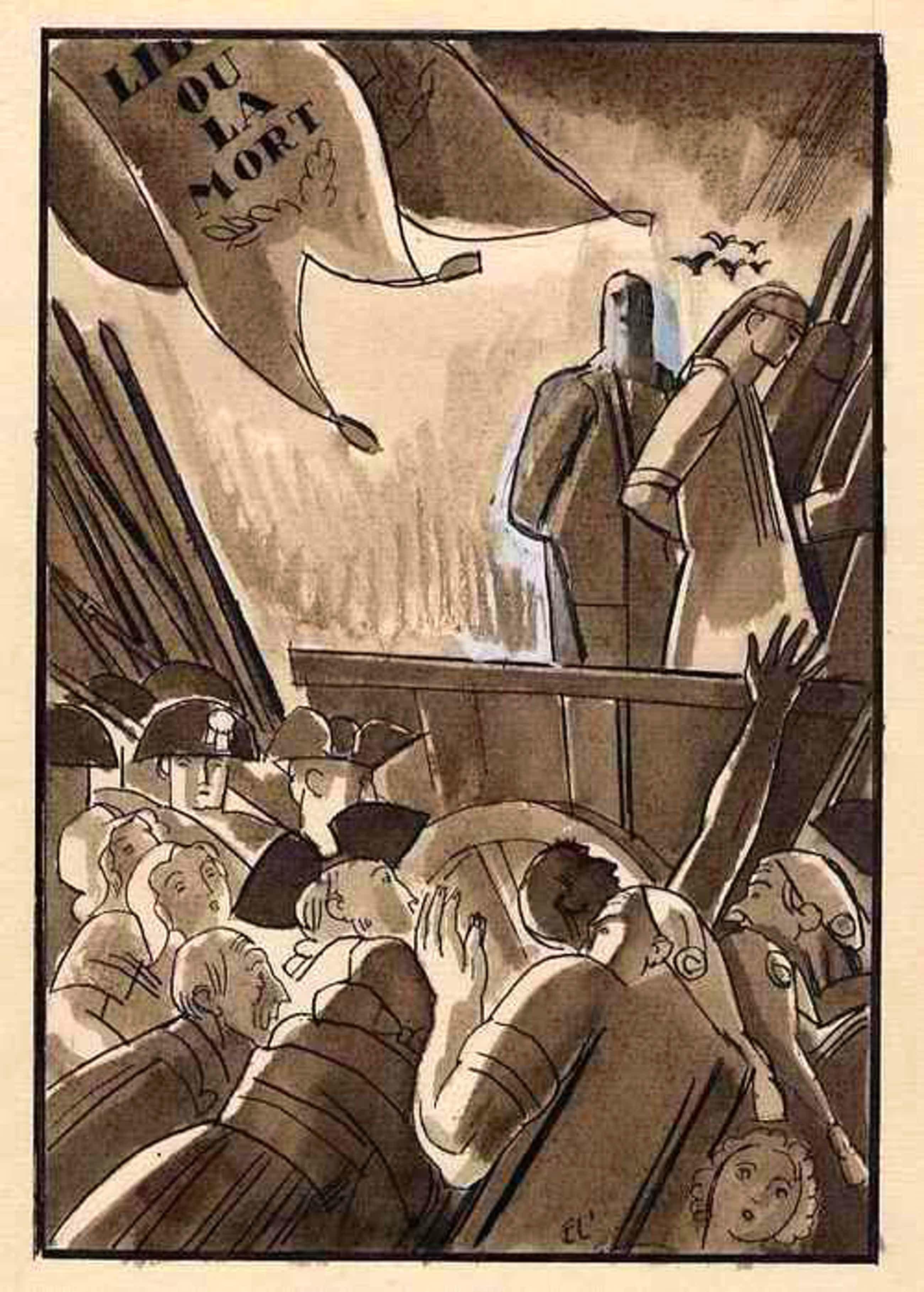 Edouard Lèon  Louis Legrand - LIBERTÉ ou La MORT - Original Feder-AquarellZeichnung 1921 handsigniert - TOD oder FREIHEIT Plume/Aq kopen? Bied vanaf 280!
