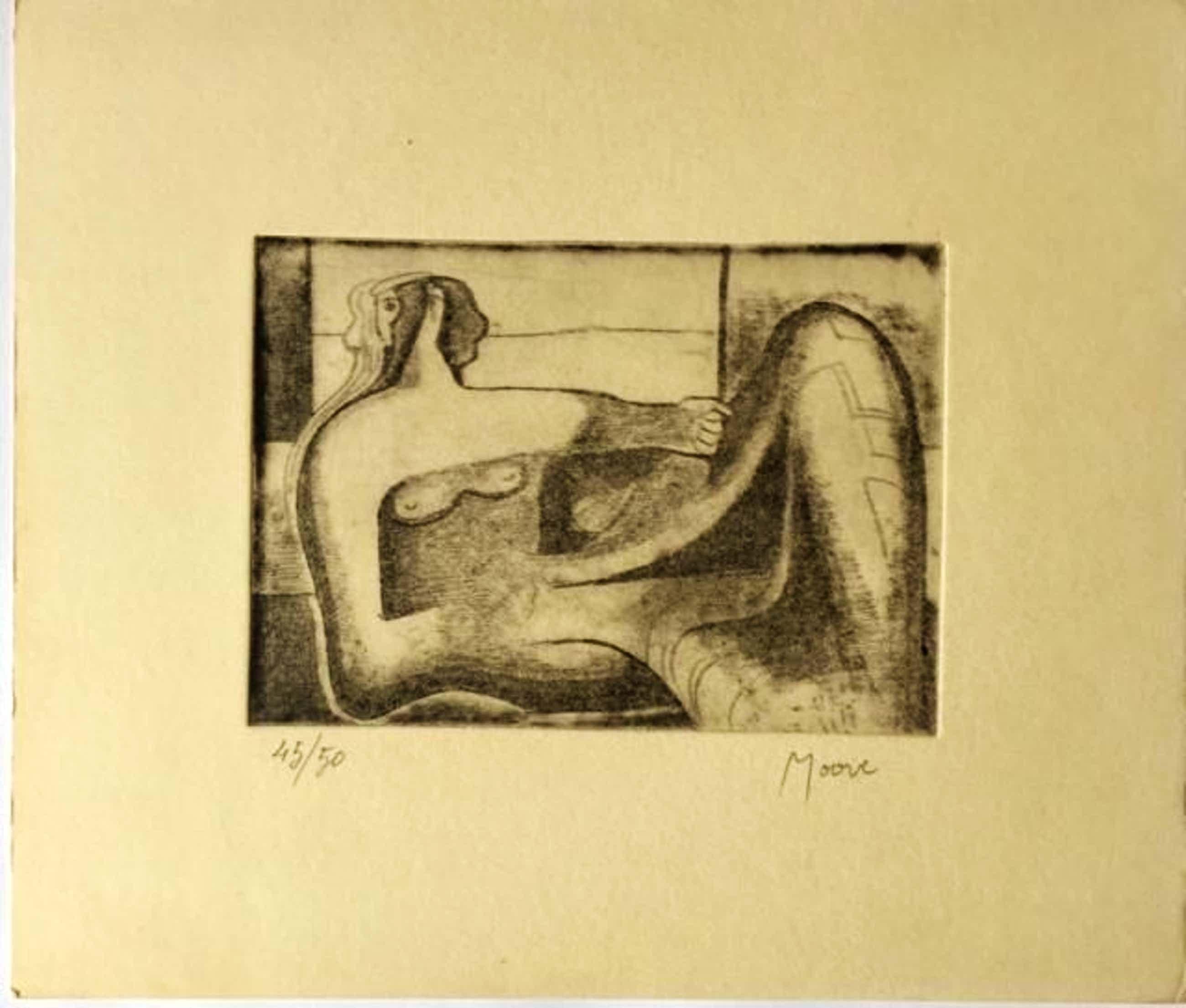 Henry Moore - Liegende - Originale Radierung - Handsigniert kopen? Bied vanaf 540!