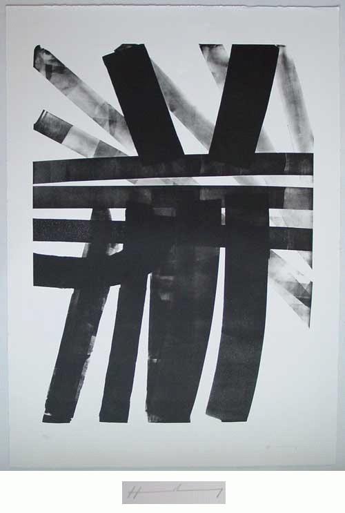 """Hans Hartung - Lithografie, 1974, handsigniert """"Hommage an Johann Sebastian Bach"""" kopen? Bied vanaf 750!"""