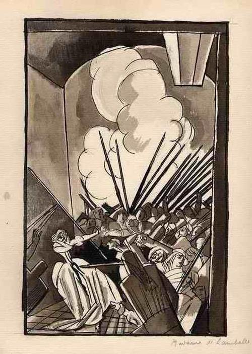 Edouard Lèon  Louis Legrand - MADAME de LAMBALLE - Original Aquarell zur FRANZÖSISCHEN REVOLuTION - 1922 - handsigniert - SIGNÉE kopen? Bied vanaf 280!