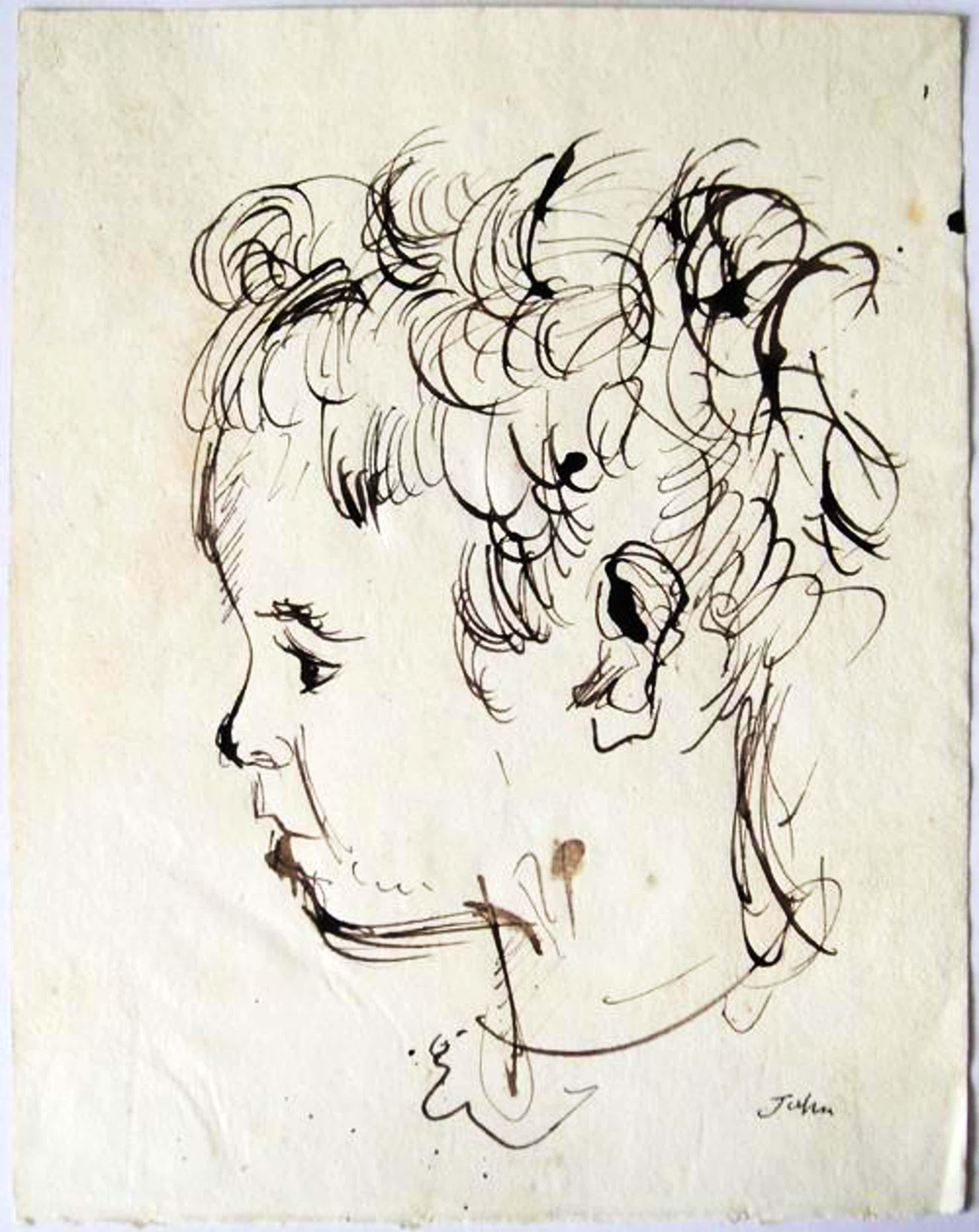 John Augustus - Mädchen Portrait - Originale Tuschezeichnung - Handsigniert kopen? Bied vanaf 290!