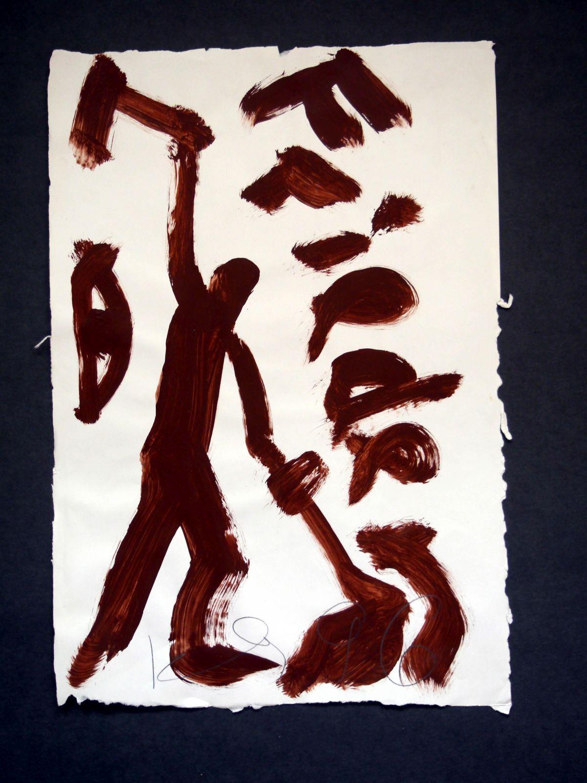 Klaus Hähner-Springmühl - Malerei/Pinselzeichnung auf Karton, 1996, Unikat, vorn handsigniert kopen? Bied vanaf 520!